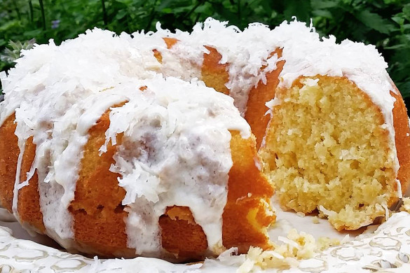 Coconut Pound Cake w/ Coconut Buttercream Frosting