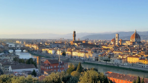 The skyline of Florence, Italy - Note the red 'Duomo'